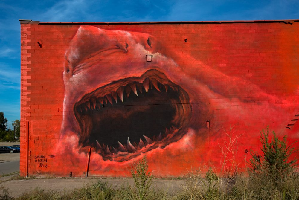 """Art by  SharkToof , Photo via  """"Murals in the Market Drinks with the Crew"""" on Facebook"""