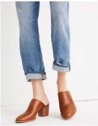 These  leather mules from Madewell  have a classic look and the slight heel adds some elegance to a casual look