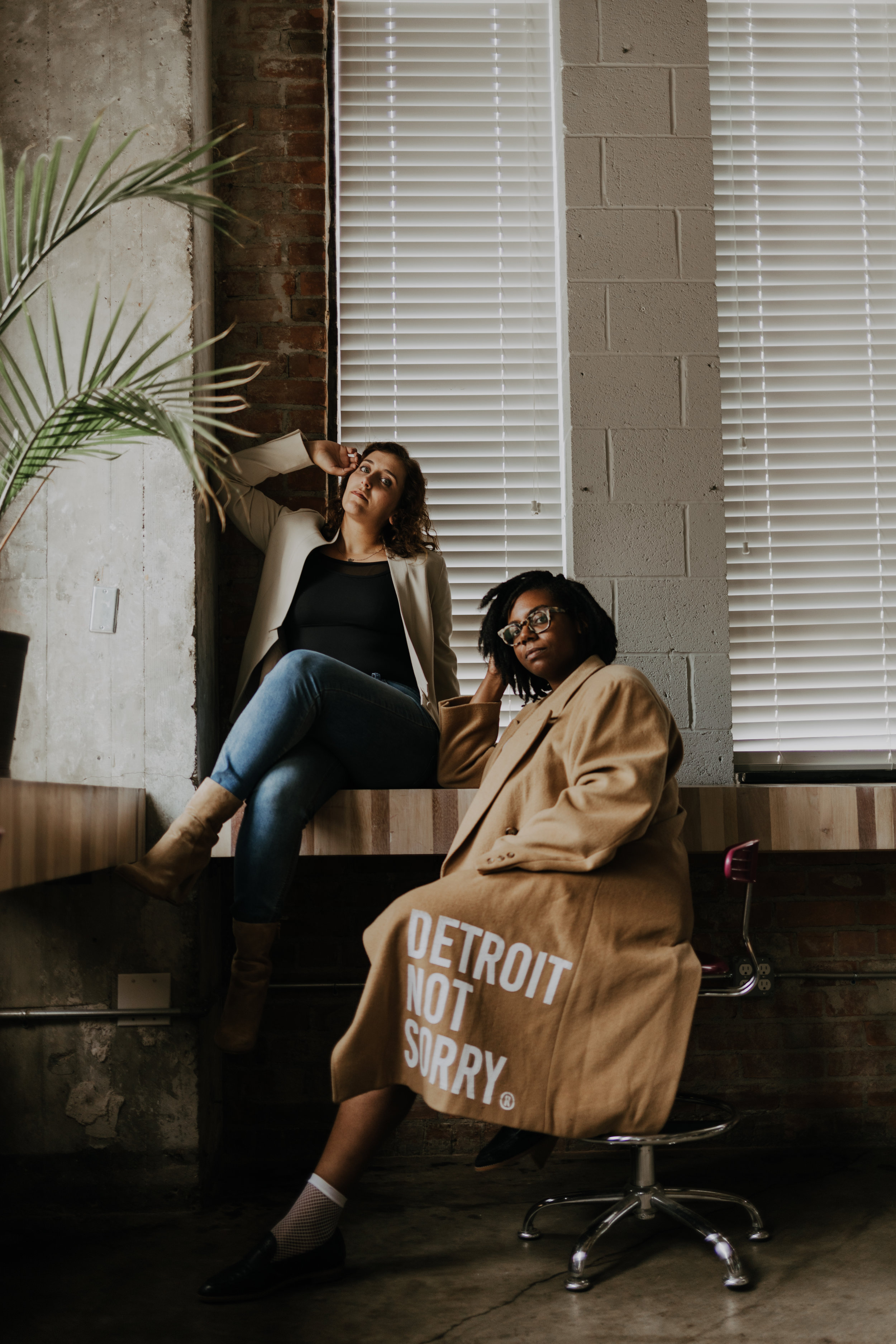 Jess Minnick  and  Dy-Min Johnson , co-founders of Detroit's  Not Sorry Apparel , photographed by Daniela Lisi