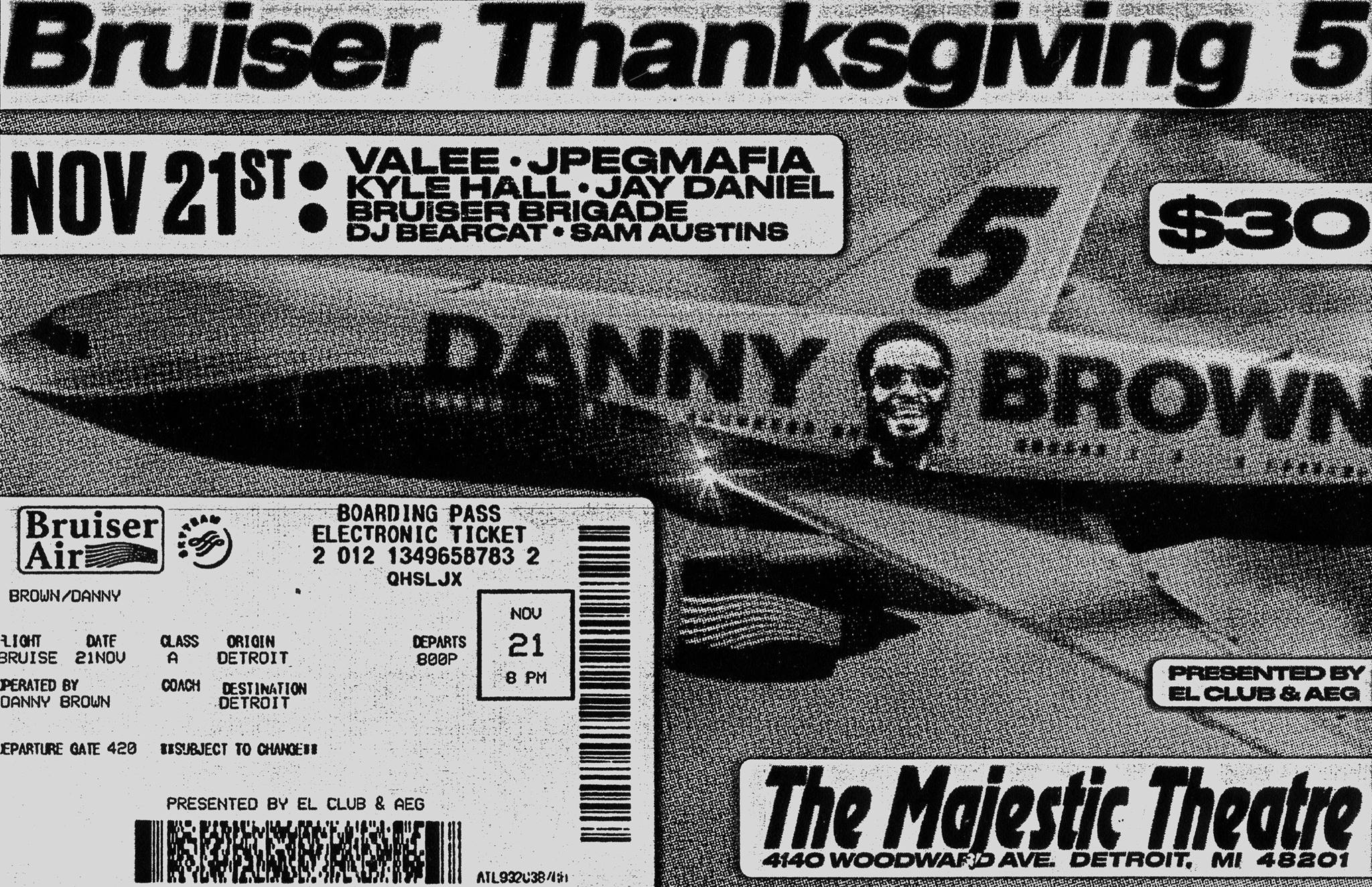 Flyer via  Danny Brown's Bruiser Thanksgiving V at The Majestic 11/21  on Facebook