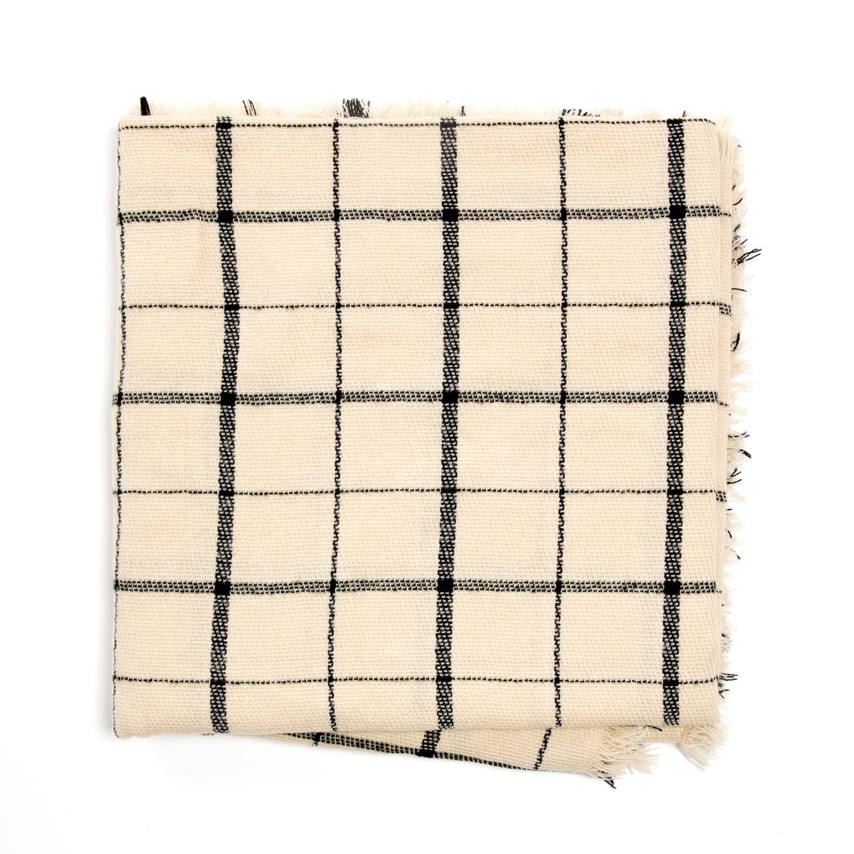 Ivory and Black Checked Scarf