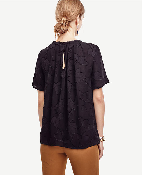 Black Pleated Floral Top