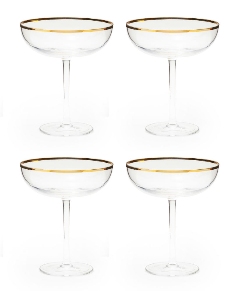 Gold-Rimmed Coupe Glasses | The Weekly Edit