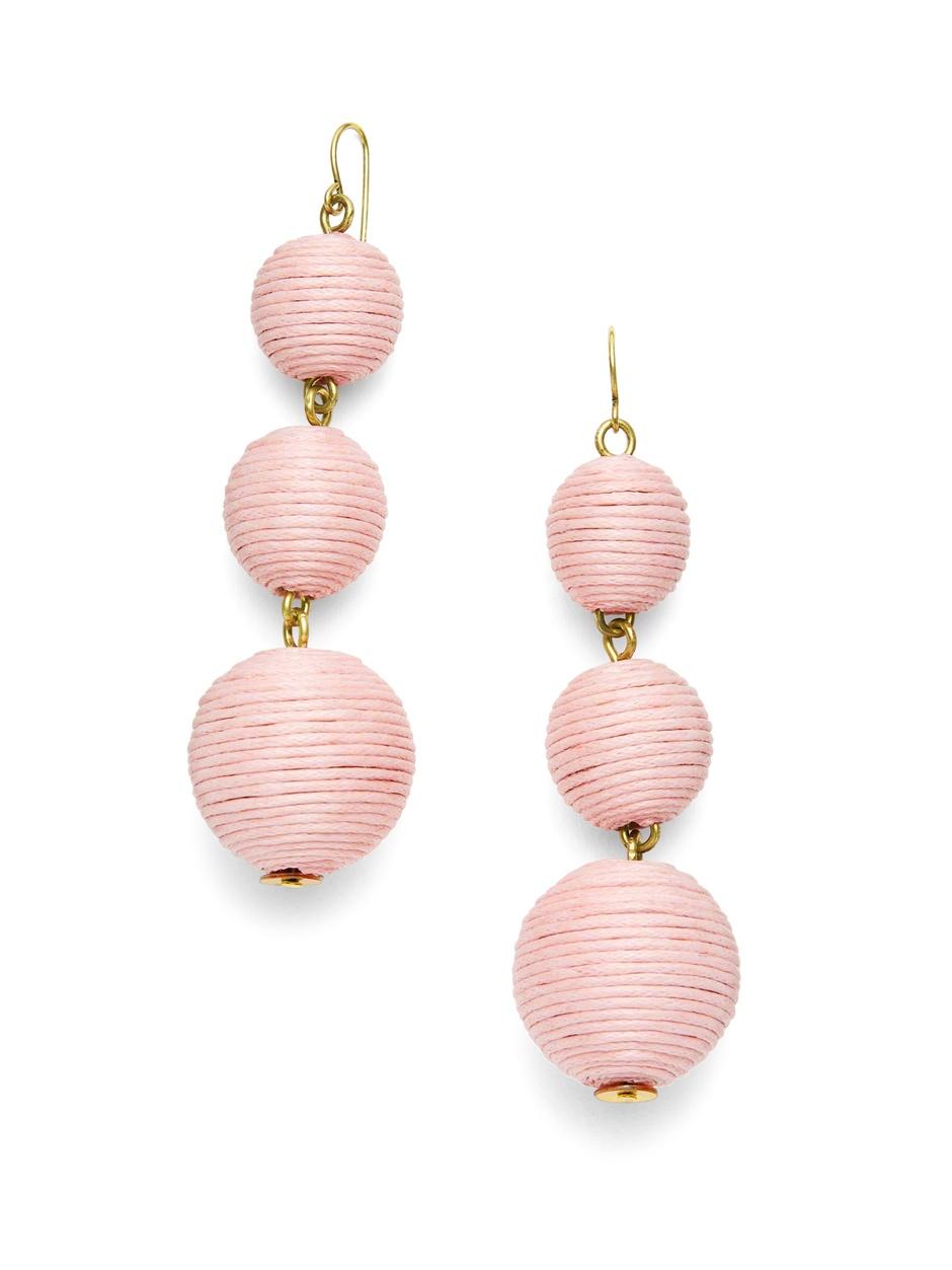 Pink Yarn Drop Earrings | The Weekly Edit