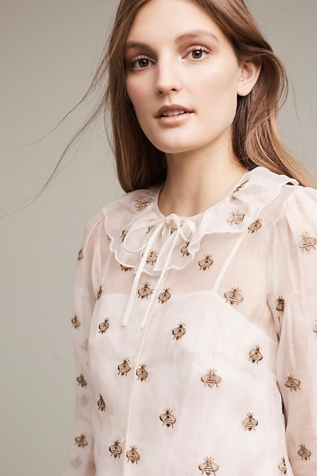 Embroidered Bee Blouse on The Weekly Edit
