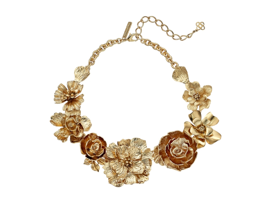 Bold Gold Floral Necklace on The Weekly Edit