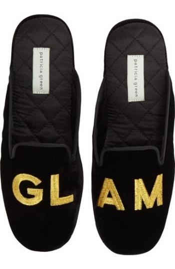 Glam Black Velvet Slippers on The Weekly Edit