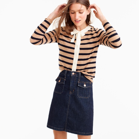 Striped Tie-Neck Cardigan on The Weekly Edit