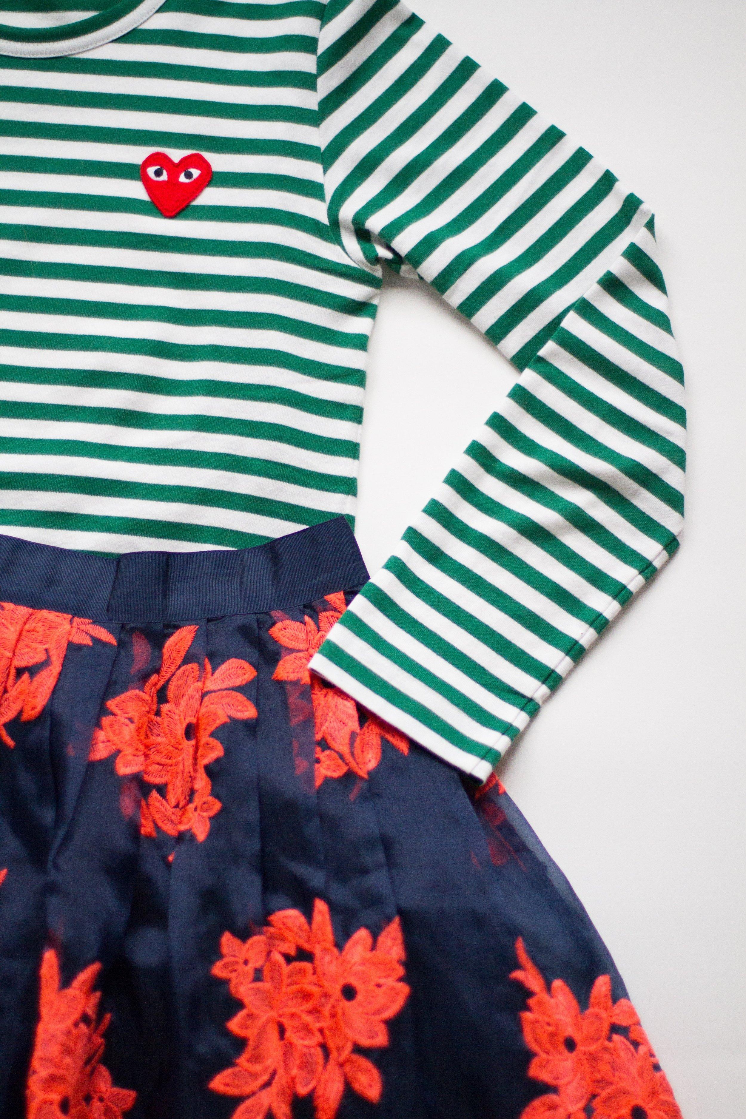 heart stripe top   /   similar skirt
