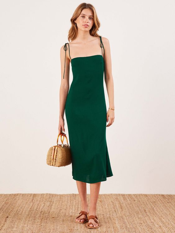 Reformation Finley Dress in Emerald