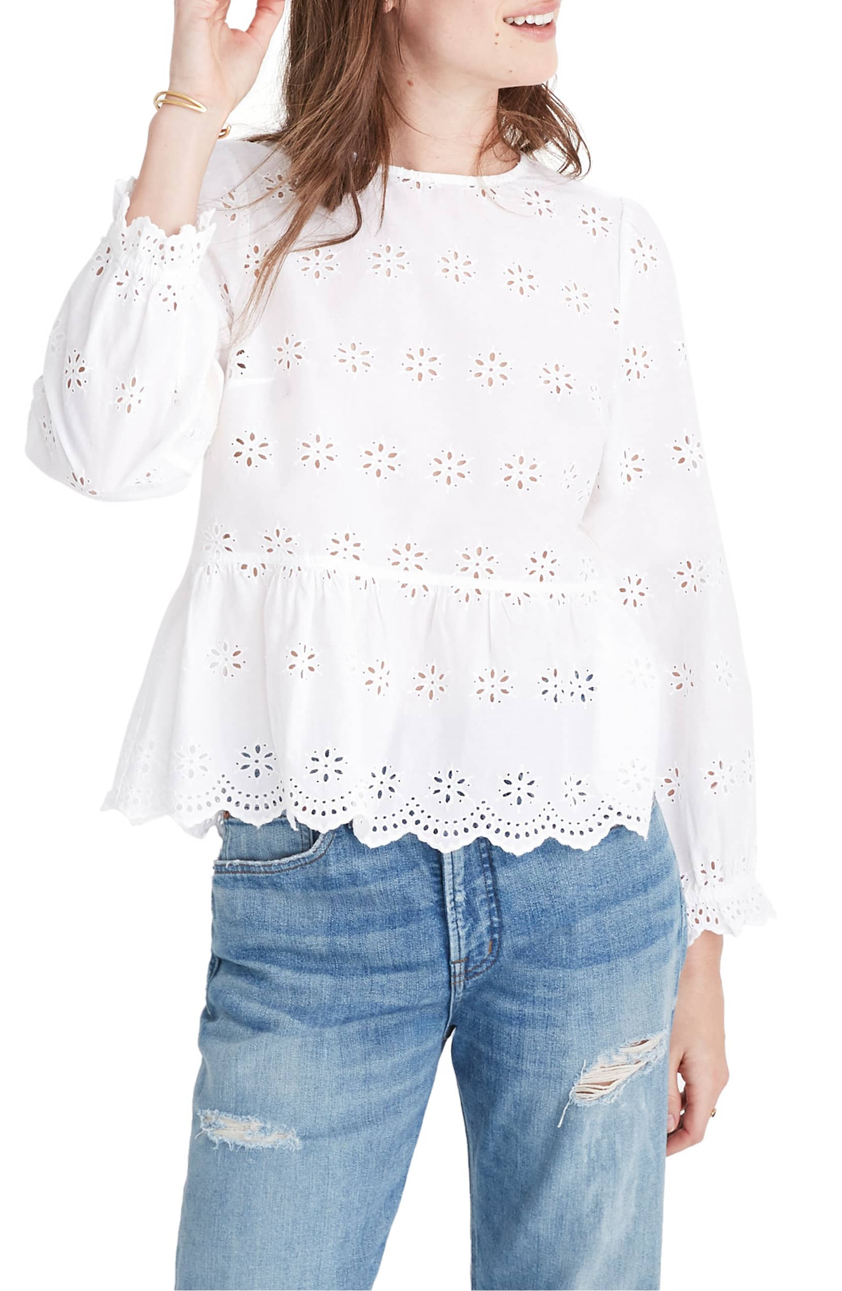 Madewell Eyelet Keyhole Top in White
