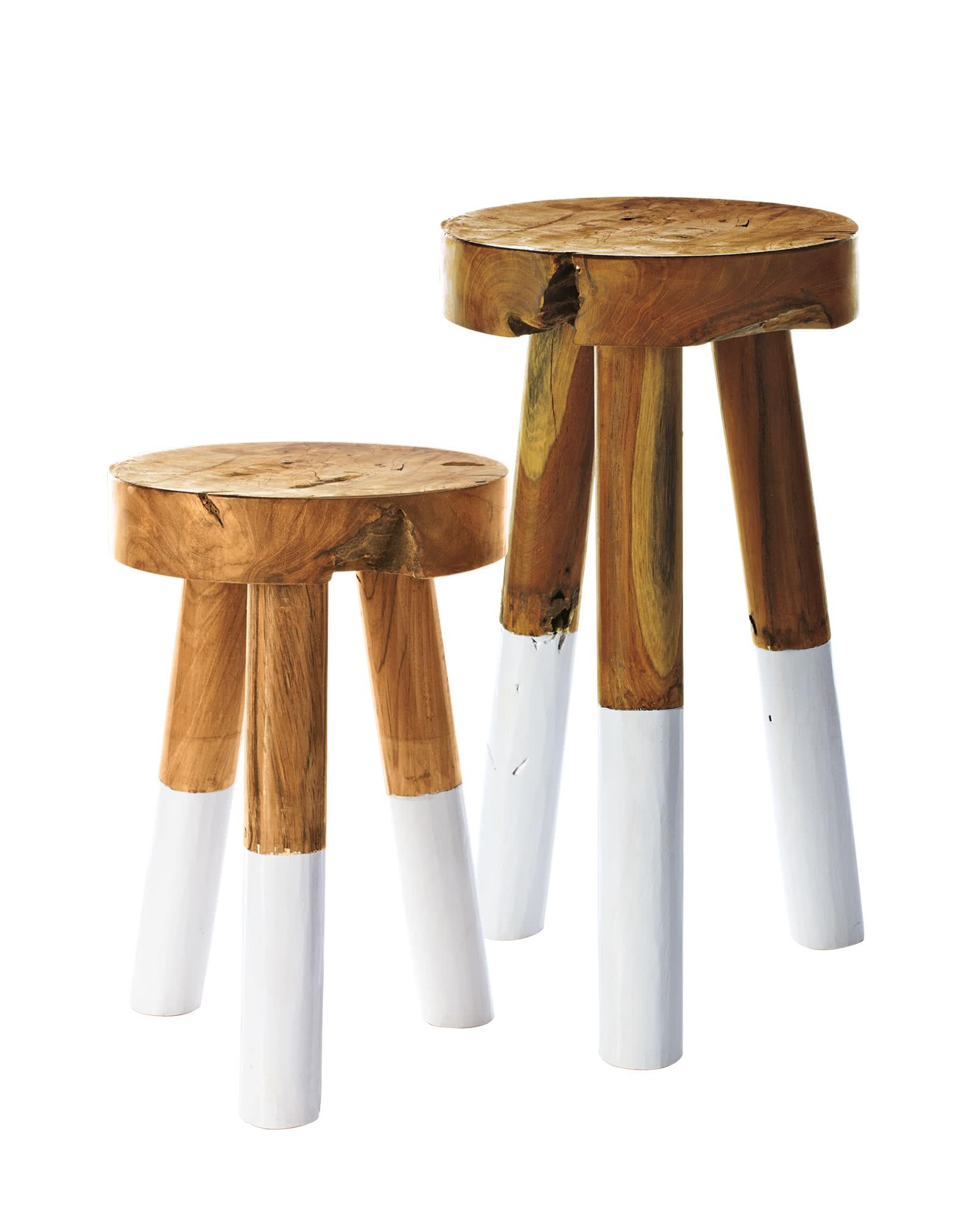 Dip-Dyed Teak Wood Stools