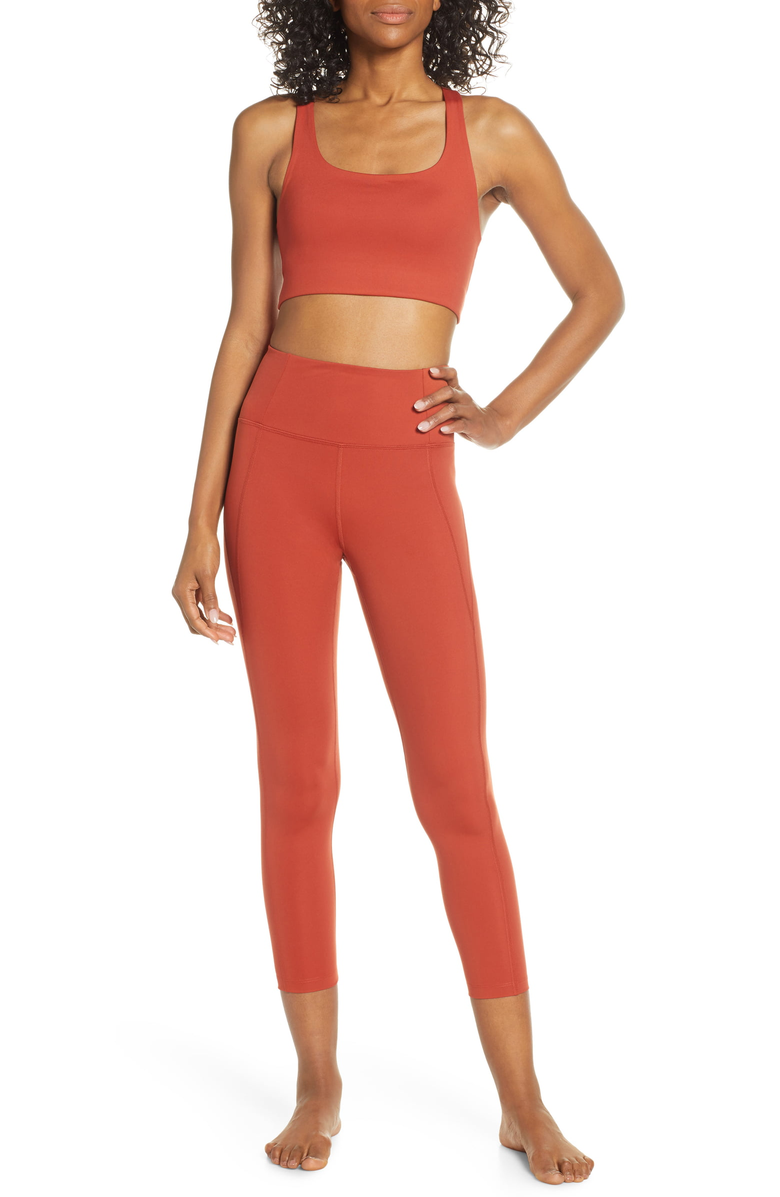 Girlfriend Collective Paloma Bra and High-Rise 7/8 Leggings in Red Ochre