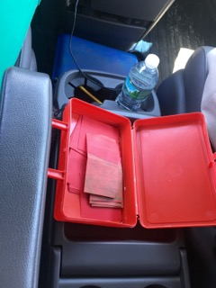Little red box in the car