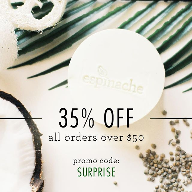I have 35 exciting things to share with you today! This is the number of percents you get off your order of $50 or more through this Sunday 4/7, 11:59 PM. Remember to enter promo code SURPRISE at checkout. If you're already a Tribe member, then you already got first dibs on your fave spinach goodies :) If you've been dying to try some of the new products from the Clarity Collection, now's a great time! ⠀ ⠀ Head over to the shop link in bio to browse the full collections for nourished, healthy hair and skin.⠀ ⠀ #espinache #whyspinach #beautypromo #promocode #discount #beautysteal #beautydiscount #sale #storewidesale #couponcode #beautysale #veganbeauty #veganbeautysale #cleanbeauty #zbesties #betterbeauty #surprise #handmade #pure #vegan #crueltyfreebeauty #crueltyfree #local #shopsmall #handmadebeauty #apothecary #bblog #beautyblogger