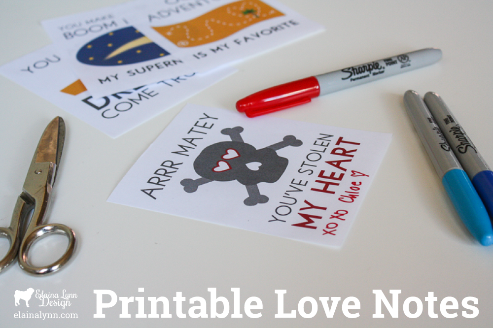 Free printable love notes from Enchanted Type