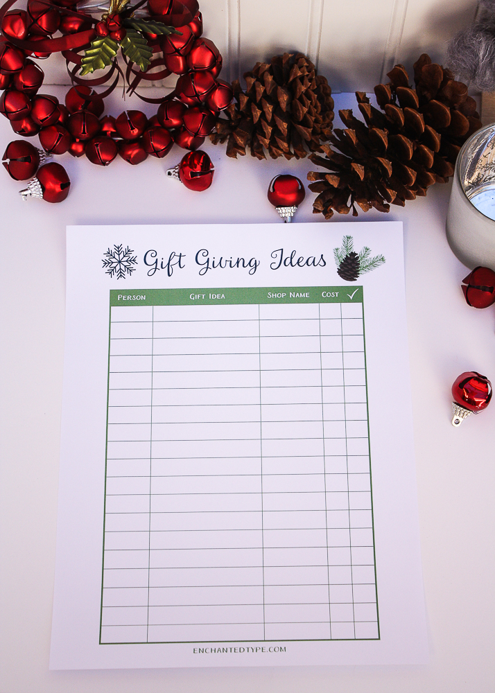 Free Printable Gift Giving Ideas Planner - Enchanted Type
