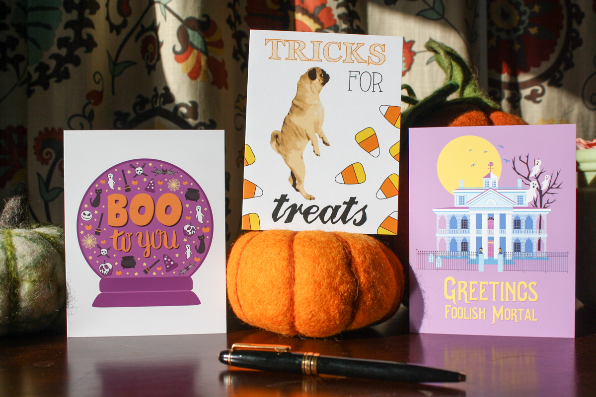 Halloween greeting cards, boo to you, greetings foolish mortals