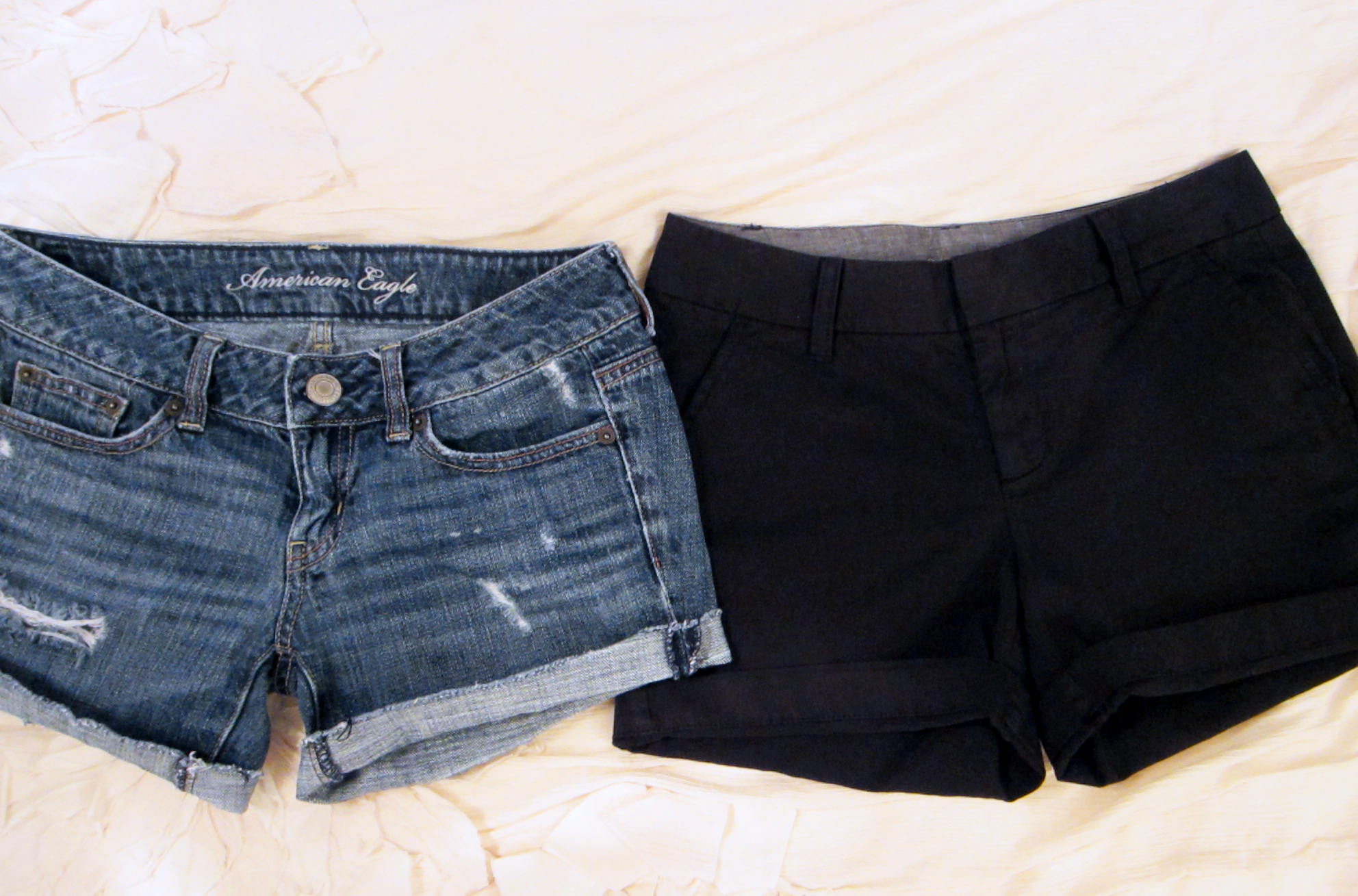 denim shorts: American Eagle (old style)  |  black shorts:  Caslon  (on sale!)
