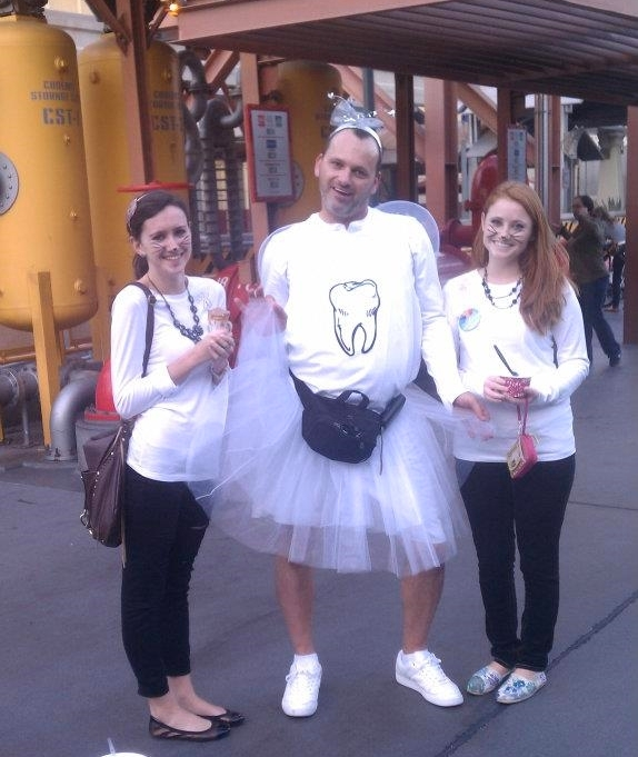 We dressed up as the Siamese cats from  Lady and the Tramp  one year and we ran into the tooth fairy at DCA! Definitely a picture-worthy moment.