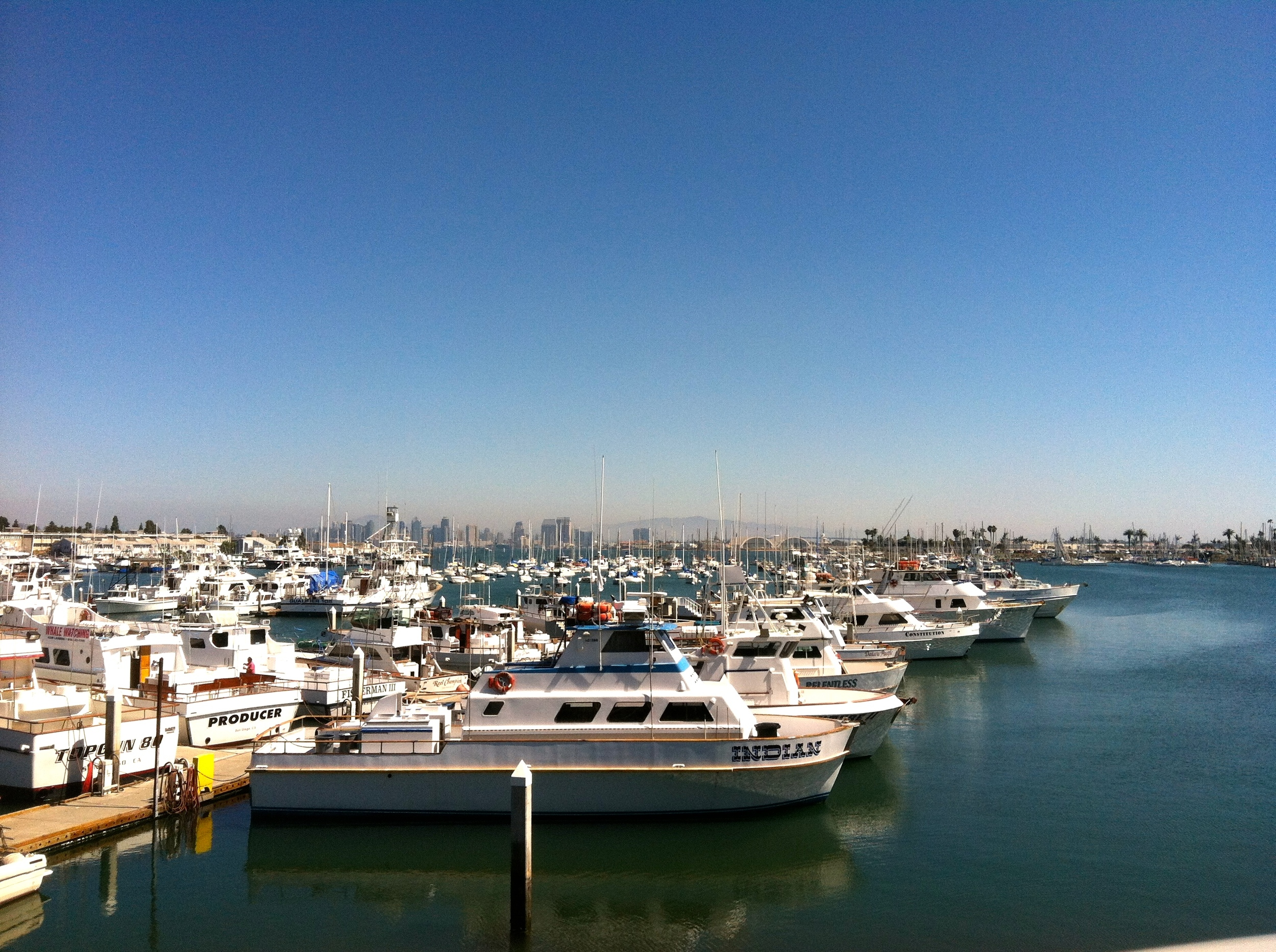 View of the harbor from the upper dining deck.