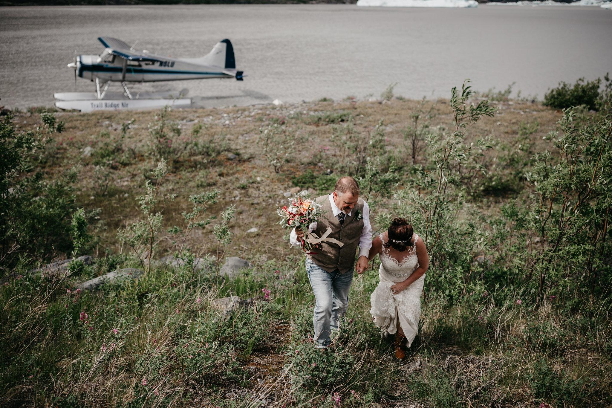 Float Plane Glacier Elopement - Alaska Destination Weddings