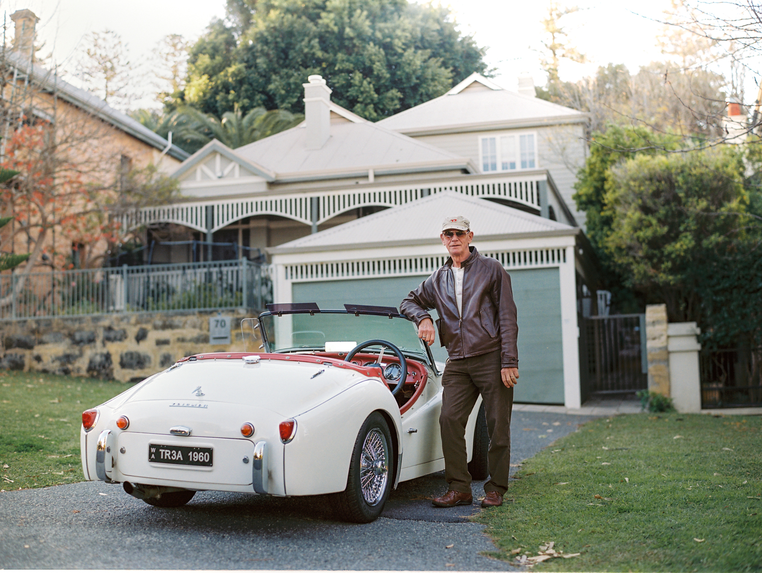 This is a 1958/59 Triumph TR3A that Mike has owned for about 12 years, during which he has restored it from poor condition to a reliable classic. It is  an ongoing labour of love.