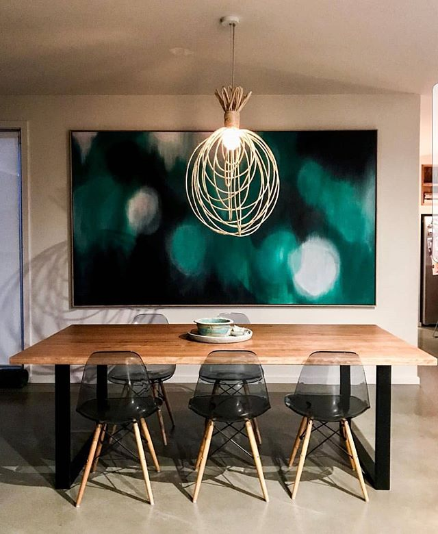 When you work for a lady who is the epitome of grace / style /warmth & love . Then on top of that talented beyond words @nikoleramsay Beautiful timber table by @aulddesign . 'Bright Eyes'. Framed by the BOSS of framing @frameline_framing_printing #herpiece #clareodonoghueart #charismalikenoother #lucky #grateful #highlight
