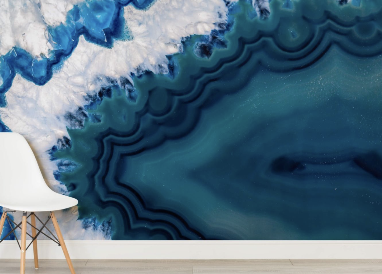 Agate Mural - Second up and a new trend that is heating up is this agate mural wallpaper from murals wallpaper.co.uk. It's a lot pricier at £36.00 per square metre. It's certainly a statement.