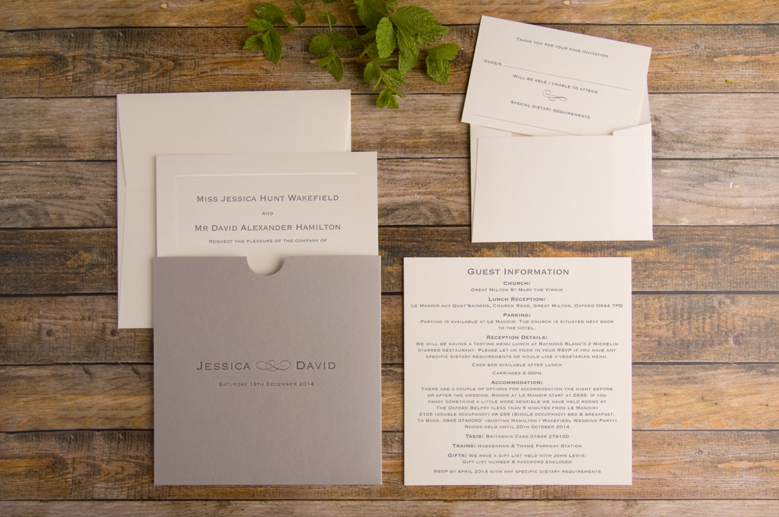 Brooke Style Invitation, Real Grey Pocket with Soft Ivory Inserts Card
