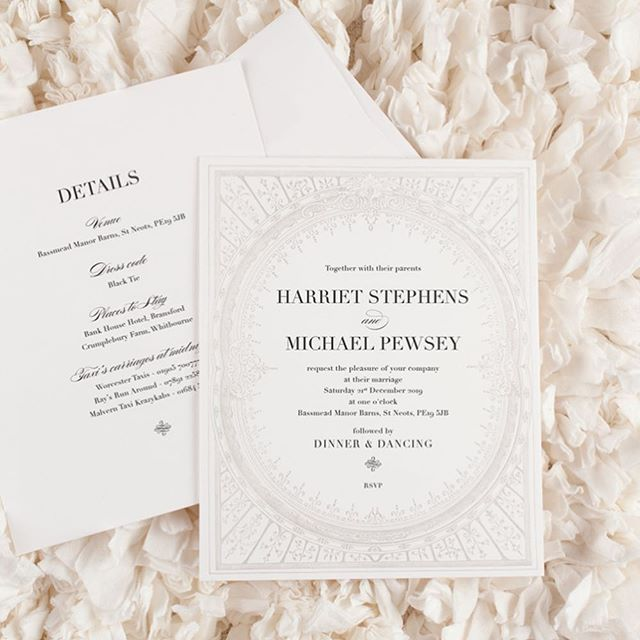 Introducing the **NEW** Hattie Invitation. Available in a choice of colours, shown here in ethereal grey and classic gold & black. Perfect for an elegant event 💕 #letterpressinvitations #weddinginvitations #weddinginspiration #weddinginvites #cardlabletterpress #greyandwhitewedding #goldwedding #artdeco #elegantwedding #eventplanning
