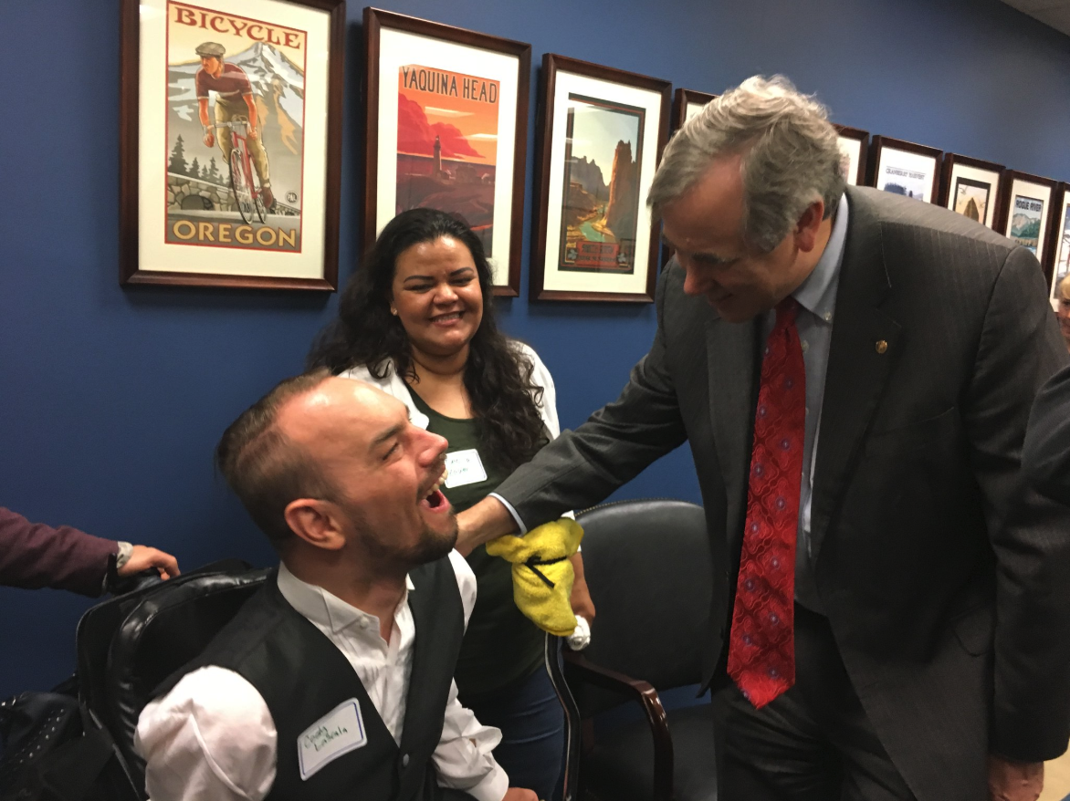 cody and cecii meet senator ed markey in dc to discuss disability and vr