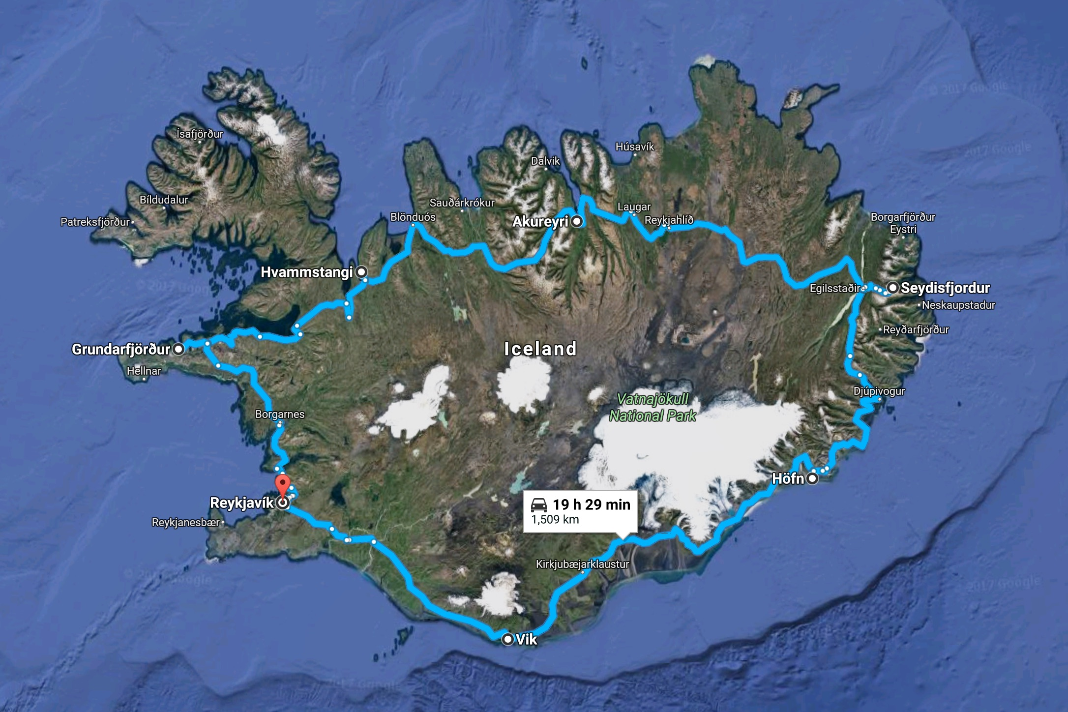Our route around Iceland