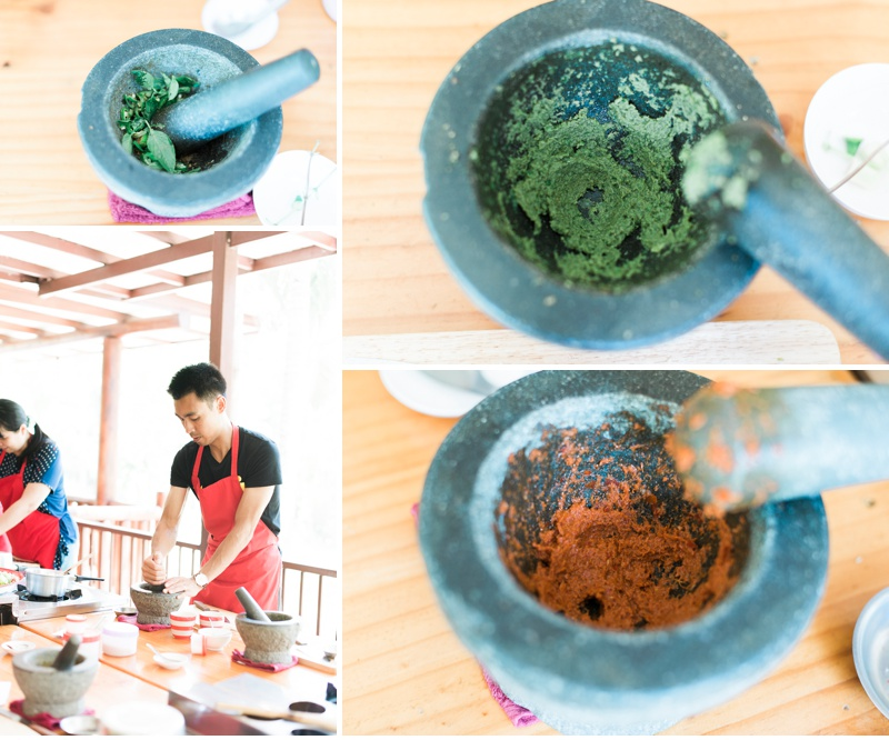 Grinding out green and red curry paste