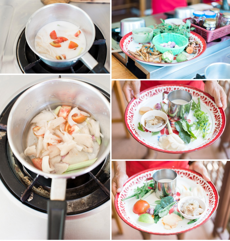 The makings of coconut soup and tom yam soup