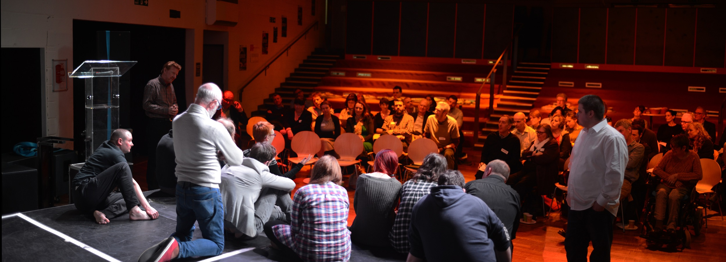 Sam and the company in a post show discussion at Newcastle University