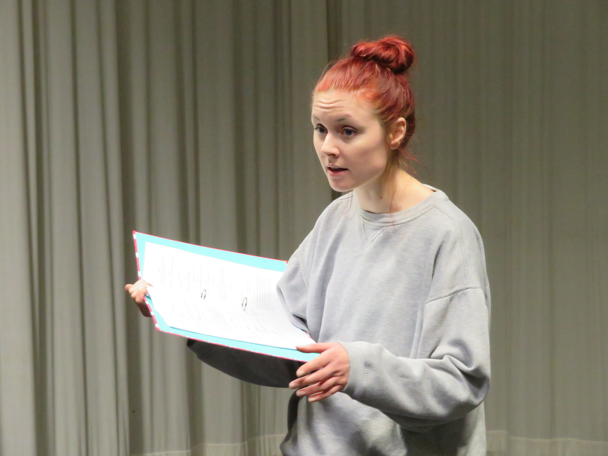 Christie Barnes in early rehearsals as Chantelle, a cleaner and the chief witness to the fantastical events at Carrell Psychiatric Hospital.