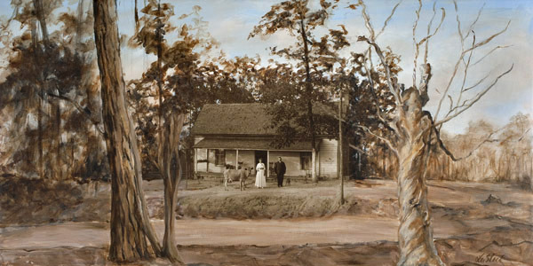 Lu Steed Time Pieces Series East Alabama, Circa 1910 mixed media on canvas 36 x 18 inches (SOLD)