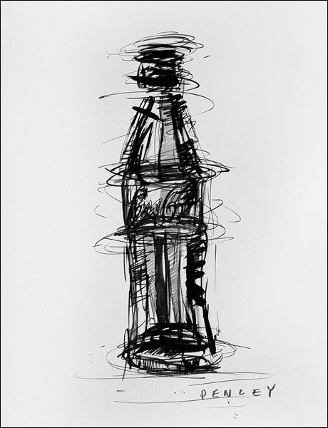 Steve Penley  Coke Bottle  acrylic on paper  16 x 20 inches unframed  22 x 28 inches framed