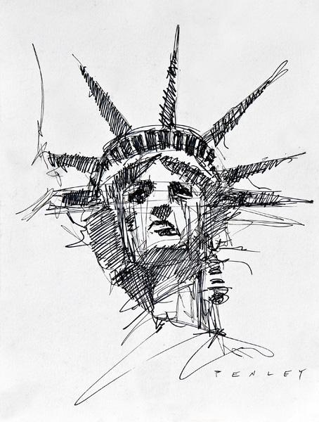 Steve Penley   Statue Of Liberty  pen & ink  11 x 14 inches unframed 18 x 22 framed