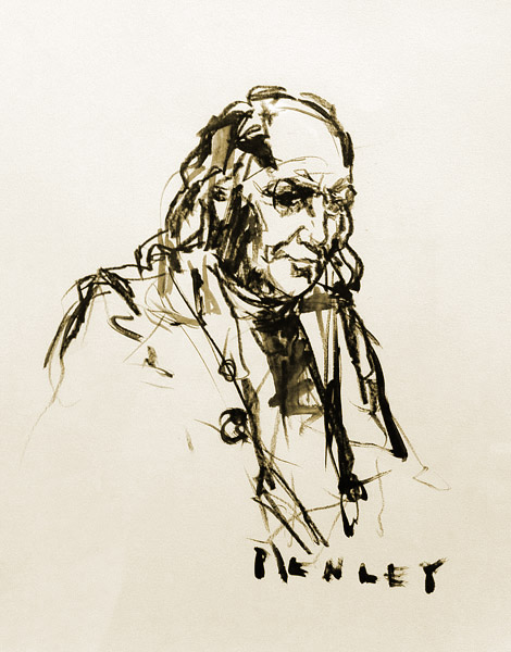 Steve Penley  Ben Franklin  charcoal on paper  11 x 14 inches unframed  18 x 21 inches framed