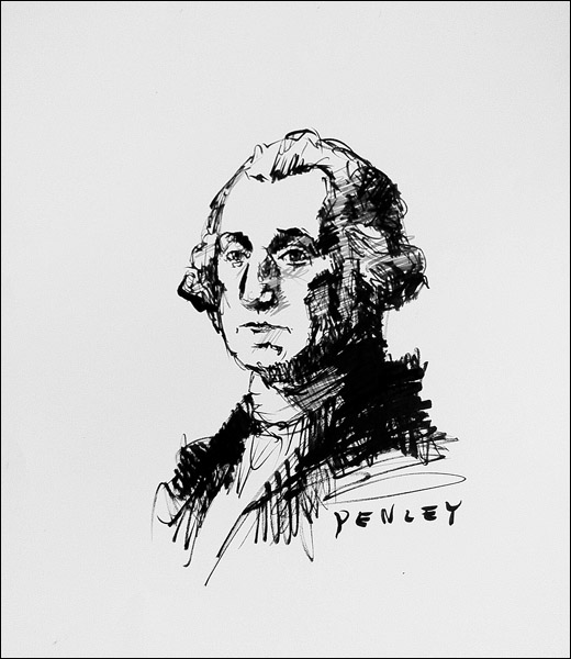 Steve Penley  George Washington  acrylic on paper  16 x 20 inches unframed  22 x 28 inches framed