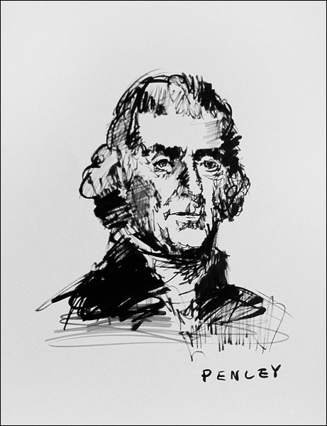 Steve Penley  Thomas Jefferson  acrylic on paper  16 x 20 inches unframed  22 x 28 inches framed