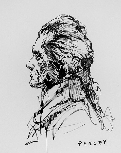 Steve Penley  Thomas Jefferson (Profile)  acrylic on paper  16 x 20 inches unframed  22 x 28 inches framed