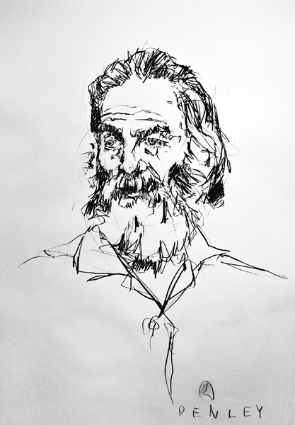 Steve Penley  Walt Whitman  charcoal on paper 26 x 37 inches unframed  31 x 42 inches framed
