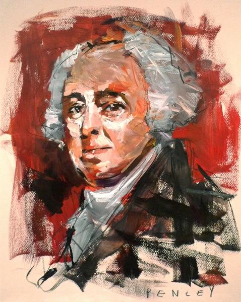 Steve Penley  John Adams  acrylic on paper 22 x 26 inches (framed)