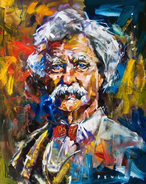 Steve Penley  Mark Twain  acrylic & resin on canvas  48 x 72 inches