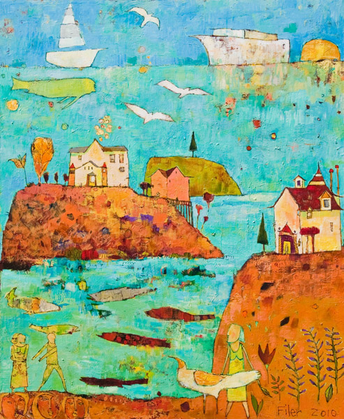 Jane Filer  Bar Harbor & the QE2  acrylic on canvas 50 x 60 inches