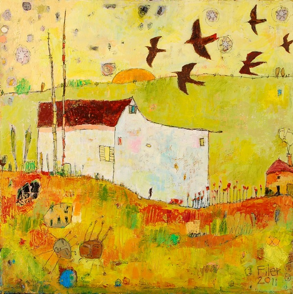 Jane Filer Cottage and Morning Swifts acrylic on canvas 32 x 32 inches