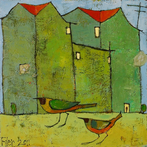Jane Filer Birds At Home acrylic on canvas 14 x 14 inches